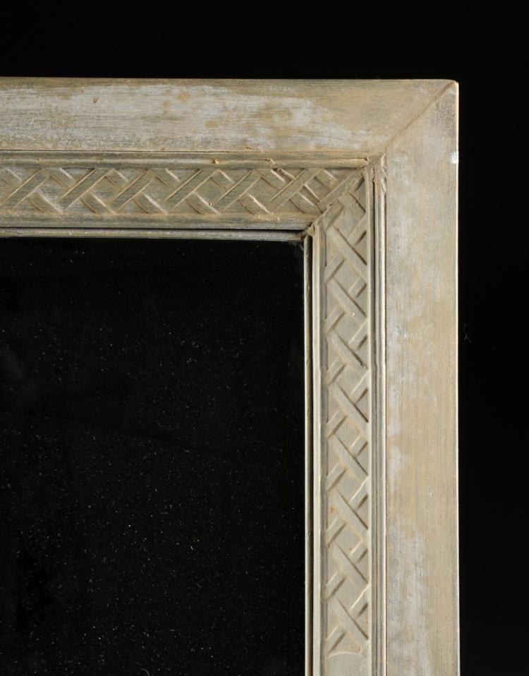 A Modern Pickled Finish Pressed Metal Mirror