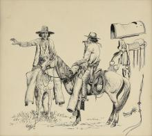 """RANDY STEFFEN (American/Texan 1917-1977) A DRAWING, """"Vaqueros on Horseback with Saddle Components,"""" 1957,"""