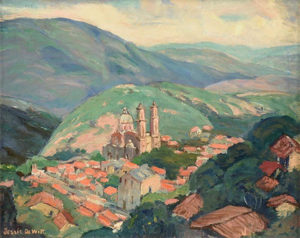 """JESSIE RAY DEWITT (American 20th Century) A PAINTING, """"Spanish Mission in a Valley,"""""""