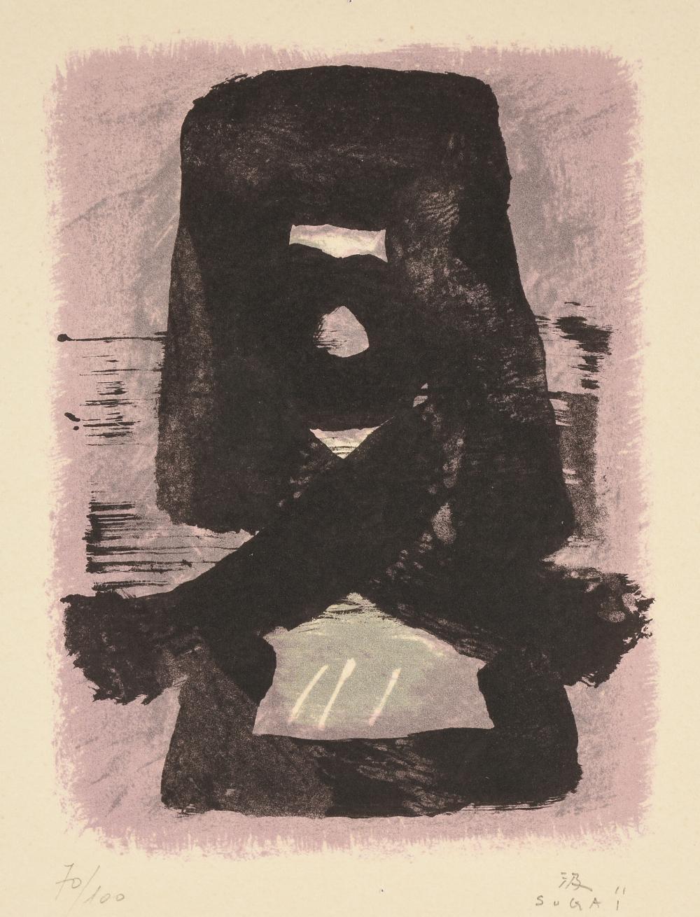 "KUMI SUGAI (Japanese 1919–1996) A PRINT, ""Untitled (Abstract Composition),"" circa 1960,"