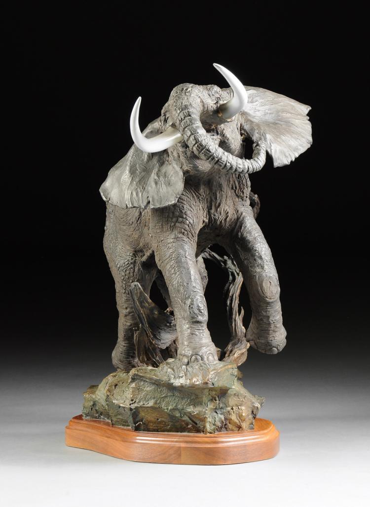 LARAN GHIGLIERI (AMERICAN 20th/21st CENTURY), A PATINATED BRONZE ELEPHANT SCULPTURE,