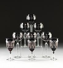 A SET OF NINE BOHEMIAN CUT CRANBERRY FLASH GLASS STEMWARE, EARLY 20TH CENTURY,