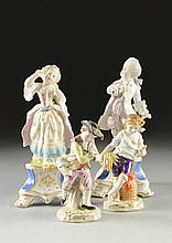 TWO PAIRS OF CONTINENTAL POLYCHROME PAINTED PORCELAIN FIGURES, LATE 19TH/ FIRST-HALF 20TH CENTURY,