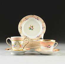 A 19 PIECE OLD PARIS PARCEL GILT AND FLORAL PAINTED PINK GROUND PART TEA SET, WITH ONE TREMBLEUSE CUP AND SAUCER, 19TH AND 20TH CENTURY,