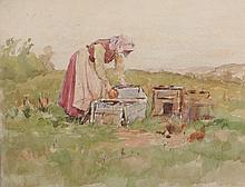 """J. EDGAR MITCHELL (British 1871-1922) A PAIR OF PAINTINGS, """"A Gossip"""" and """"Feeding Chickens,"""""""