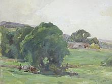 "J. EDGAR MITCHELL (British 1871-1922) A PAIR OF PAINTINGS, ""Pastoral Scenes,"""