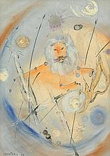 """LUC JANETZKY (Belgian b. 1938) A PAINTING, """"The Lion,"""""""