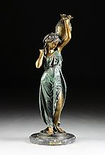 after AUGUSTE MOREAU (French 1834-1917) A GREEN AND BROWN PATINATED BRONZE SCULPTURE OF AN ARAB MAIDEN CARRYING AN AMPHORA, MODERN,