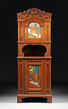 A NORDIC REVIVAL STYLE POLYCHROME PAINTED CARVED PINE CABINET, DESIGNED BY GERHARD MUNTHE (NORWEGIAN 1849-1929), LATE 19TH/EARLY 20TH CENTURY,