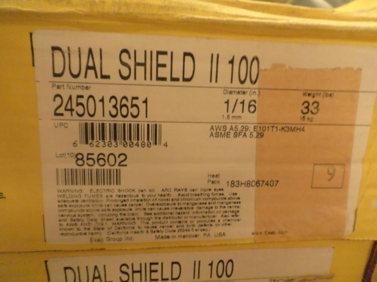 ESAB Dual Shield II 100 33 pound rolls of 1/16