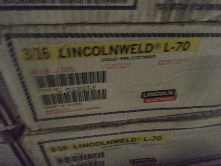 Lincolnweld LA-70 60 pound rolls of 3/16