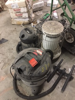 2 shop vacs and heater