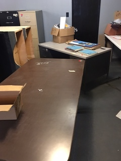 table desk and contents