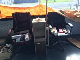 2 chairs, water dispenser and contents