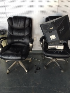 2 chairs, tv and contents