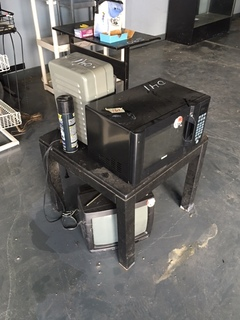 Microvave, heater, tv, table