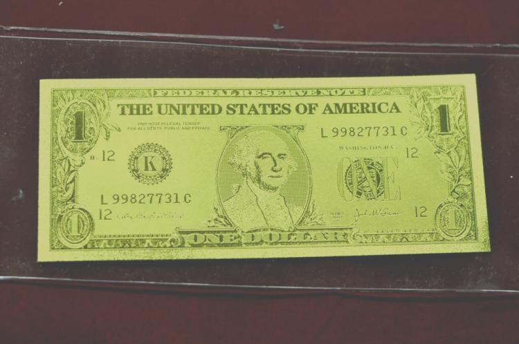 $1 24 KT Gold Banknote