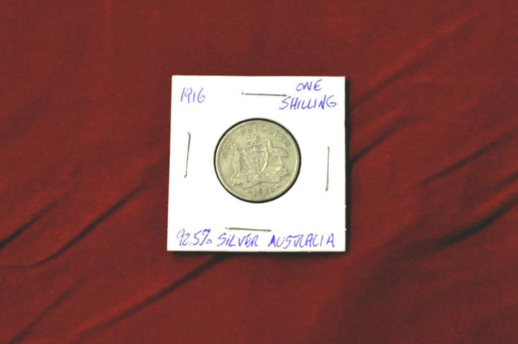1916  One Shilling from Australia 92.5% Silver