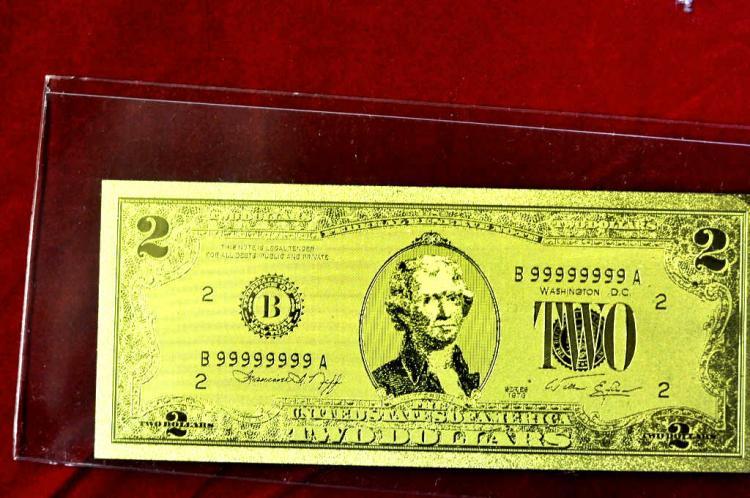 $2 24 KT Gold Banknote