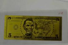 $5 24 KT Gold Banknote