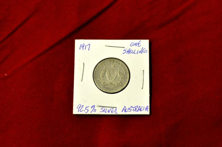 1917 One Shilling from Australia 92.5% Silver