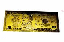 $10 24 KT Gold Banknote