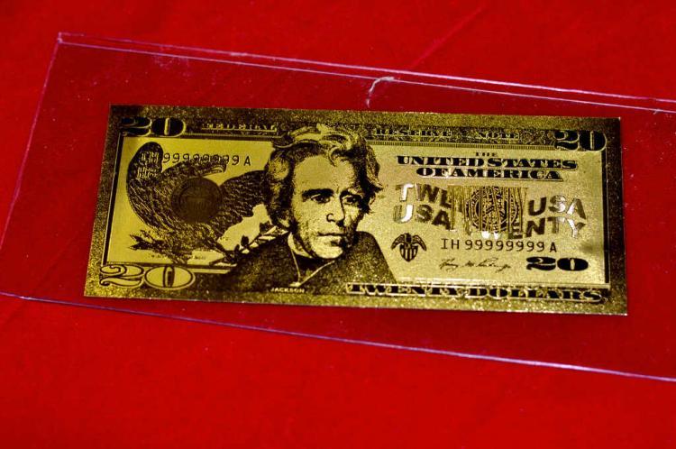 $20 24 KT Gold Banknote