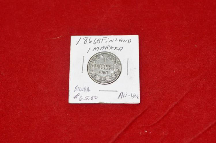 1866 S 1 Markka from Finland Silver AU Books for