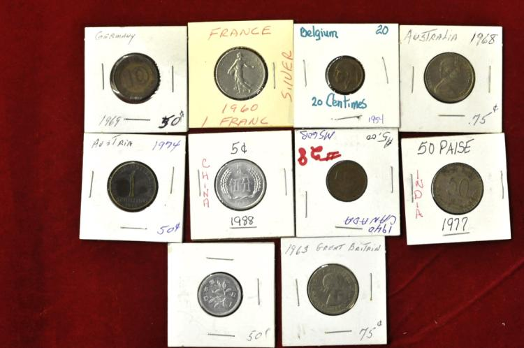 Foreign Coins from 10 different Countries Lot #5