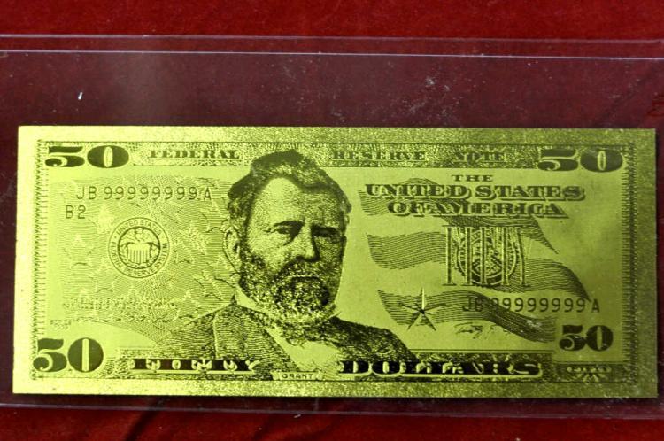 $50 24 KT Gold Banknote