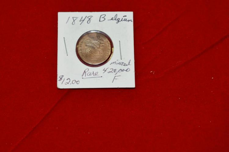 1848  2 Centimes from Belgium RARE Only 420,000
