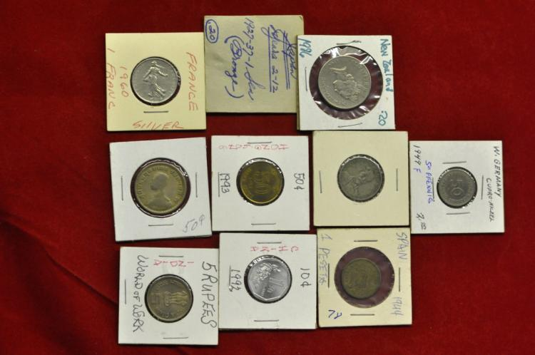Foreign Coins from 10 different Countries Lot #7