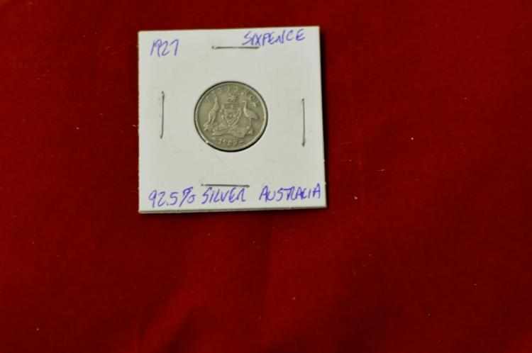 1927 Sixpence from Australia 92.5% Silver