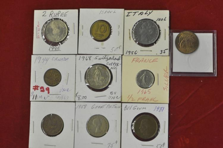 Foreign Coins from 10 different Countries Lot #12