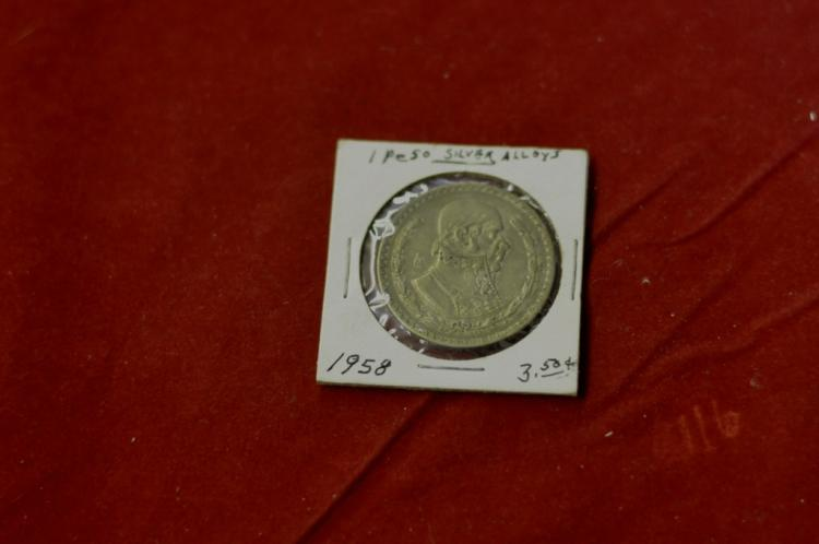 1958 1 Peso from Mexico 10% Silver