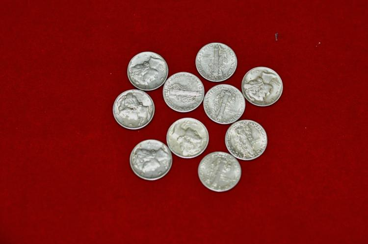 10 Mercury Dimes XF to AU