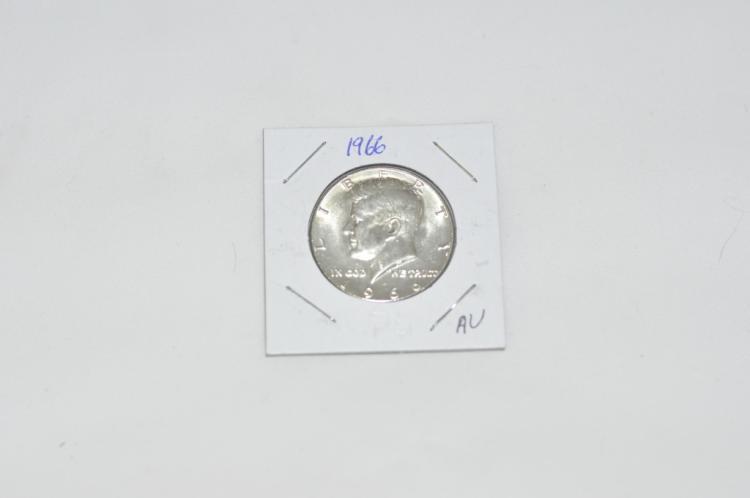 1966 Kennedy Half Dollar AU 40% Silver