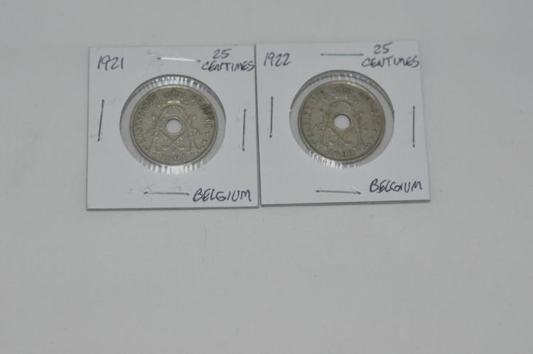 1921 & 1922  25 Centimes from Belgium