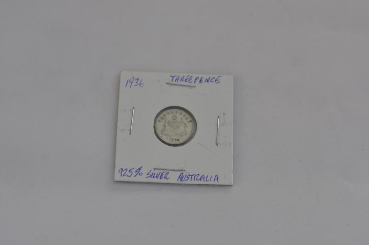 1936  Threepence from Australia 92.5% Silver