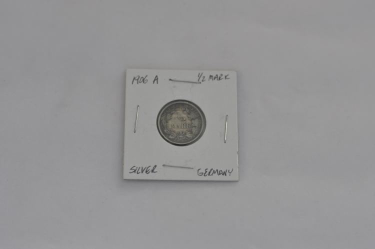 1906 A  Half Mark German Silver Coin