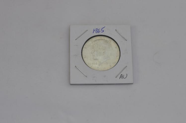 1965  Kennedy Half Dollar AU 40% Silver