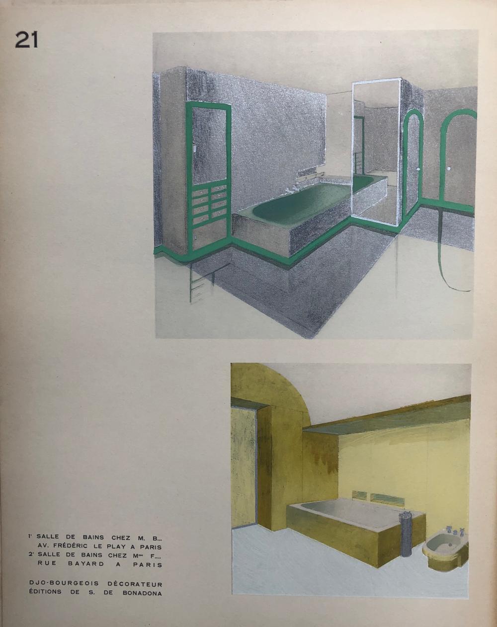 Lot 395: Bourgeois Decoratum-Deco room designs-Salle de Bains 1 & 2