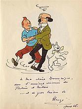 HERGÉ (1907-1983)  - La valse de Tintin, Milou et du Professeur Tournesol