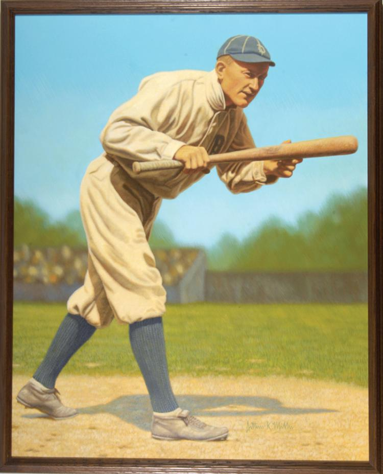 Ty Cobb Large Format Original Painting By Arthur Miller