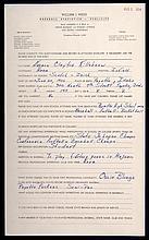 1954 Harmon Killebrew handwritten questionnaire.