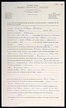 1961 Lou Brock handwritten questionnaire.