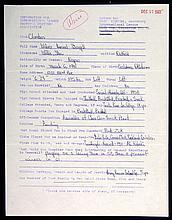 1961 Willie Stargell handwritten questionnaire.