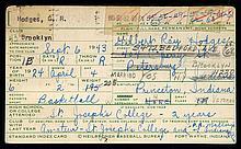 Gil Hodges autographed & handwritten baseball informational card.
