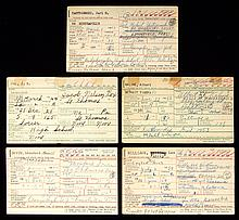 Lot of (5) Hall of Famers autographed & handwritten baseball information cards.