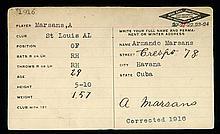 Armando Marsans autographed baseball information card.